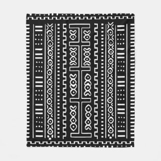 "Black and White Mudcloth Fleece Blanket, 50""x60"""