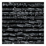 Black and white music notes poster