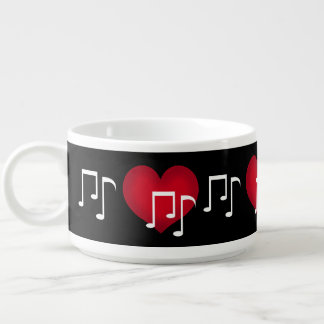 Black and white music notes red heart custom chili bowl