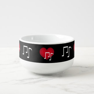 Black and white music notes red heart custom soup bowl with handle