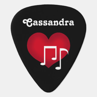Black and white music notes red heart personalized guitar pick
