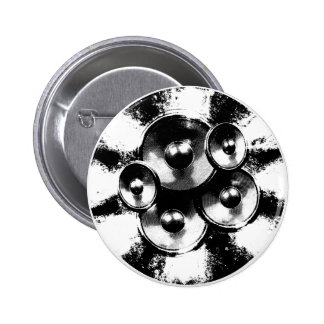 Black and white music speakers in a circle 2 inch round button