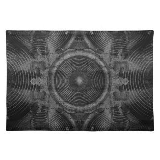 Black and white music speakers placemat