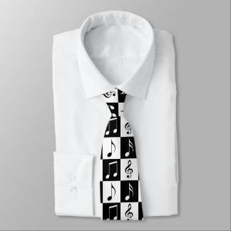 Black and White Musical Checker Tie