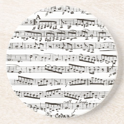 Black and white musical notes drink coasters