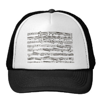 Black and white musical notes mesh hats