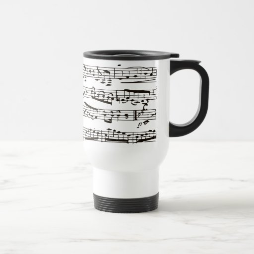Black and white musical notes coffee mugs