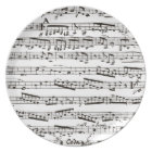 Black and white musical notes plate