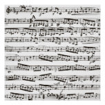 Black and white musical notes poster