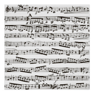 Black and white musical notes posters
