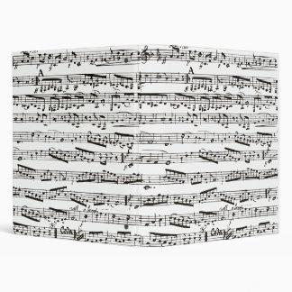 Black and white musical notes vinyl binder