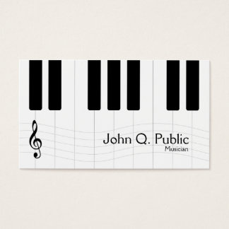 Black and White Musician Piano Business Card