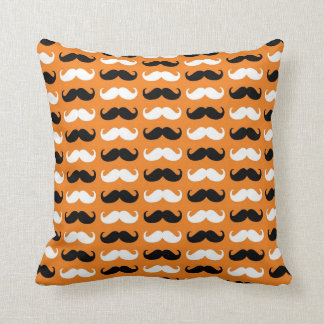 Black and White Mustache Throw Pillow