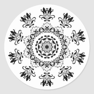 Black and White Mystical Mandala Abstract Sticker