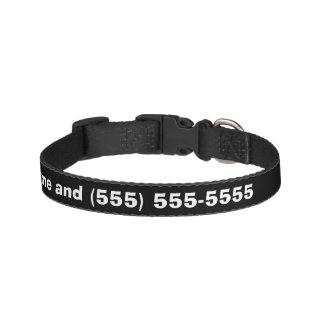 Black and White Name and Number Pet Collar