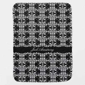 Black and White Named Damask Stroller Blankets