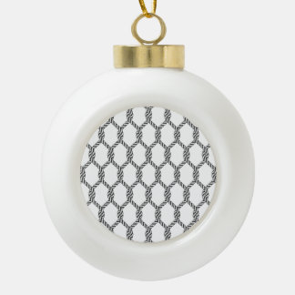Black And White Nautical Rope Pattern Ceramic Ball Christmas Ornament