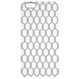 Black And White Nautical Rope Pattern Clear iPhone 6 Plus Case