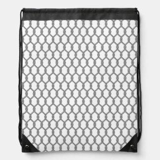 Black And White Nautical Rope Pattern Drawstring Bag