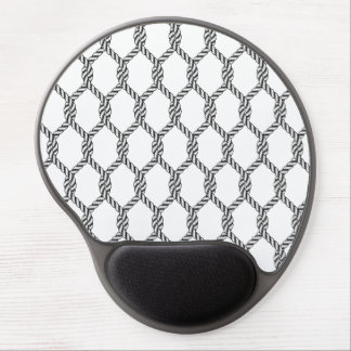 Black And White Nautical Rope Pattern Gel Mouse Pad