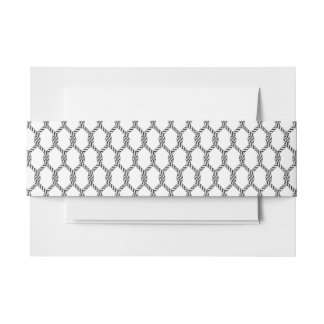 Black And White Nautical Rope Pattern Invitation Belly Band