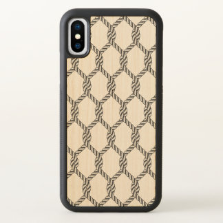 Black And White Nautical Rope Pattern iPhone X Case