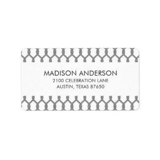 Black And White Nautical Rope Pattern Label