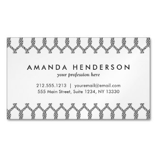 Black And White Nautical Rope Pattern Magnetic Business Card