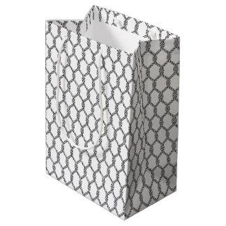 Black And White Nautical Rope Pattern Medium Gift Bag
