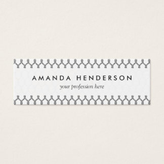 Black And White Nautical Rope Pattern Mini Business Card