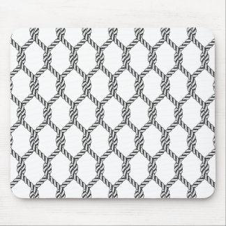 Black And White Nautical Rope Pattern Mouse Pad