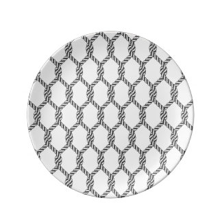 Black And White Nautical Rope Pattern Plate