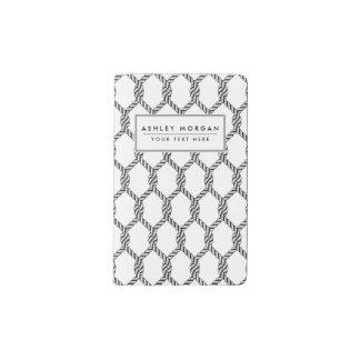 Black And White Nautical Rope Pattern Pocket Moleskine Notebook