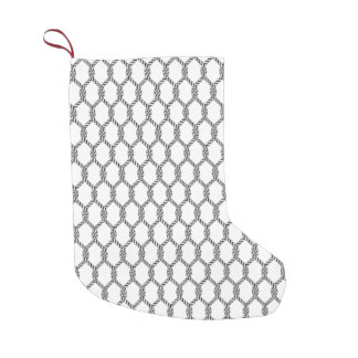 Black And White Nautical Rope Pattern Small Christmas Stocking