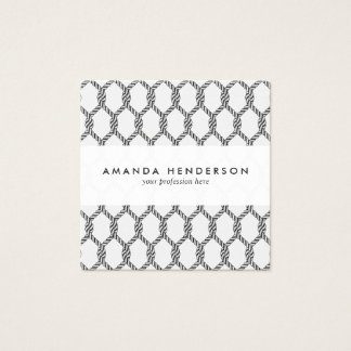 Black And White Nautical Rope Pattern Square Business Card
