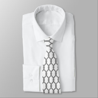 Black And White Nautical Rope Pattern Tie