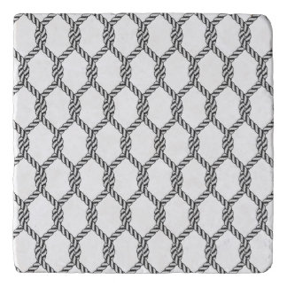 Black And White Nautical Rope Pattern Trivet
