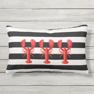 Black and white nautical stripes and red lobsters outdoor pillow
