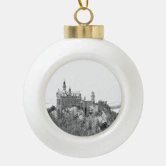 Black and White Neuschwanstein Castle in Winter Ceramic Ball Ornament