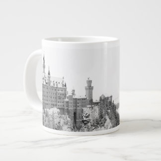 Black and White Neuschwanstein Castle in Winter Large Coffee Mug