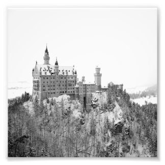 Black and White Neuschwanstein Castle in Winter Photo Print