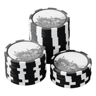 Black and White Neuschwanstein Castle in Winter Poker Chips Set