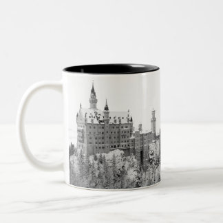 Black and White Neuschwanstein Castle in Winter Two-Tone Coffee Mug