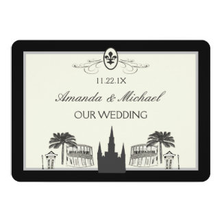 """Black and White New Orleans Scenes Save the Date 5"""" X 7"""" Invitation Card"""