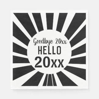 Black and White New Year Paper Napkin