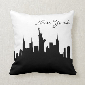 Black and White New York Skyline Throw Pillow