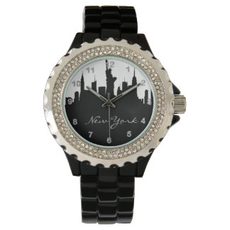 Black and White New York Skyline Watch