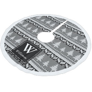 Black and White Nordic Fir Trees + Family Name Brushed Polyester Tree Skirt