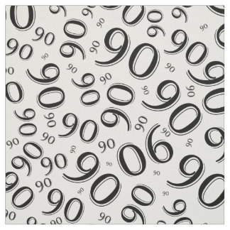 Black and White Number 90 Typography Pattern Fabric