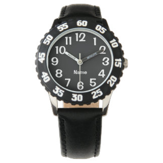 Black and White Number Personalized Solid Color Wristwatch